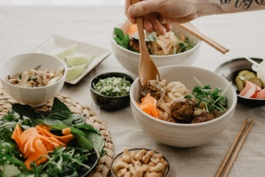 View of Vietnamese Inspired Noodle Bowl