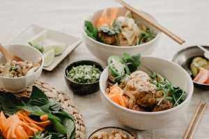 View of Vietnamese Inspired Noodle Bowl Spread